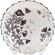 Cambridge Glass Silver Overlay Bowl Caprice Poppy Pattern