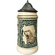 SALE RARE Diesinger DRGM 154927 1/8L Miniature Beer Stein Early 1900s with Dog and Stick