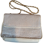 SALE Vintage Whiting Davis Mesh Handbag Purse in White Plus Free US Shipping