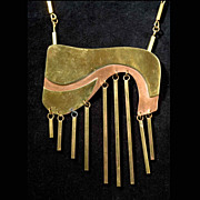Mind-blowing Vintage 1970's Artisan Necklace, gold plate on copper