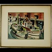 Signed Mid-Century Watercolor, San Francisco Fishing Boats at Wharf