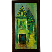 """Mid-Century Painting by Jean Foster Jenkins, """"Painted Ladies"""" Victorian Houses, circa 1970"""