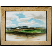 Mid Century San Francisco Bay Area Landscape Watercolor, signed Tatsuno