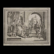 "Antique engraving, ""Columbus presenting an Account of his Voyage to the King and Queen of Sp"