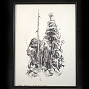 Original and Rare Signed Ink Drawing by Brent Trolle, 1974