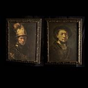 Large Vintage 1970's Rembrandt Paintings Poly-Planar Speaker Set