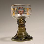 Vintage Bohemian Theresienthal Roemer Rhein Wine Glass