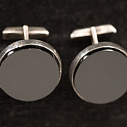"""""""Golden Era"""" Mid Century Signed Mexican Silver and Jet Cufflinks"""