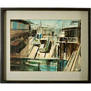 """Mid Century Watercolor """"Fisherman's Wharf, S.F."""", by Al Cunningham"""