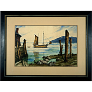 20th Century Modernist Harbor Scene Watercolor by L. Aubrey, San Francisco Fishing Village