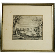 Early 20th Century Californian Landscape Drawing, Signed Coburn