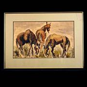 Vintage Bay Area Figurative Watercolor, Equestrian Study
