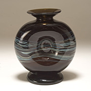 Unusual Pinched Donut Vase, American Studio Glass, signed, circa 1974 .