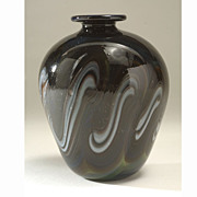 American Studio Art Glass Vase, signed Berlin '75