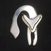Vintage Sterling Taxco Modernist Cat Pin