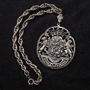 Incredible Vintage Heraldic Shield Victorian Revival Feasting Medallion Necklace