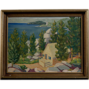 Modernist Mid Century Painting, Lake Tahoe, circa 1950's