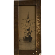 Early 20th Century Frigate Photograph, Salt Print