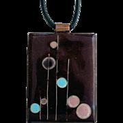 Vintage Modernist Enamel Cloisonné Pendant