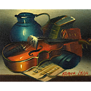 Original Frank Lean Oil Painting, Still Life With Violin, circa 1960's