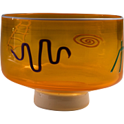 Kerry Feldman Fineline Studios Post Modern Art Glass Bowl