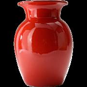 Mid Century Atomic Red Aldo Londi Bitossi Thrown Italian Red Glaze Vase