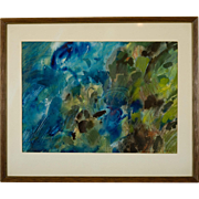 Mid Century Abstract Watercolor Signed Steffen