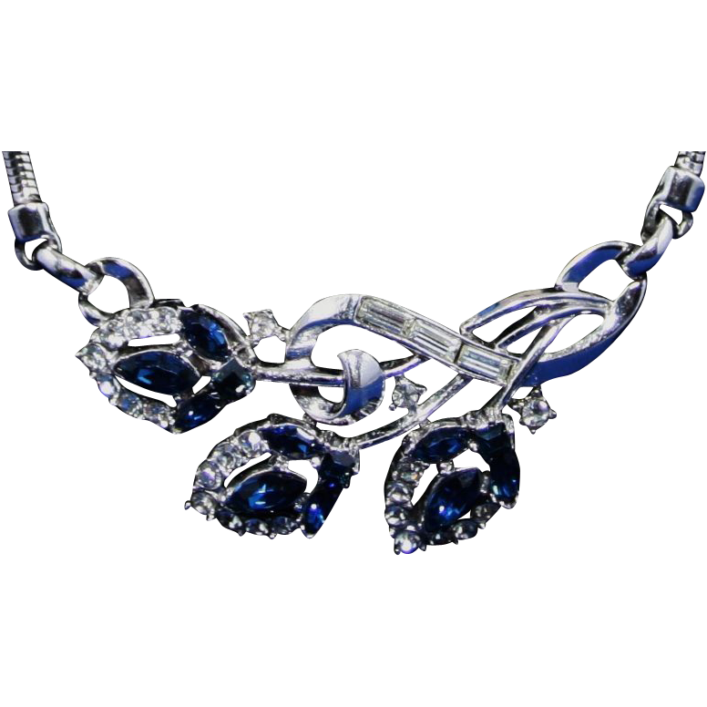 Trifari Crown Silver Tone Blue & Clear Rhinestone Necklace Choker Ca. 1950's