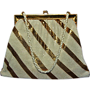 Vintage Whiting Davis White & Gold Striped Enamel Mesh Purse