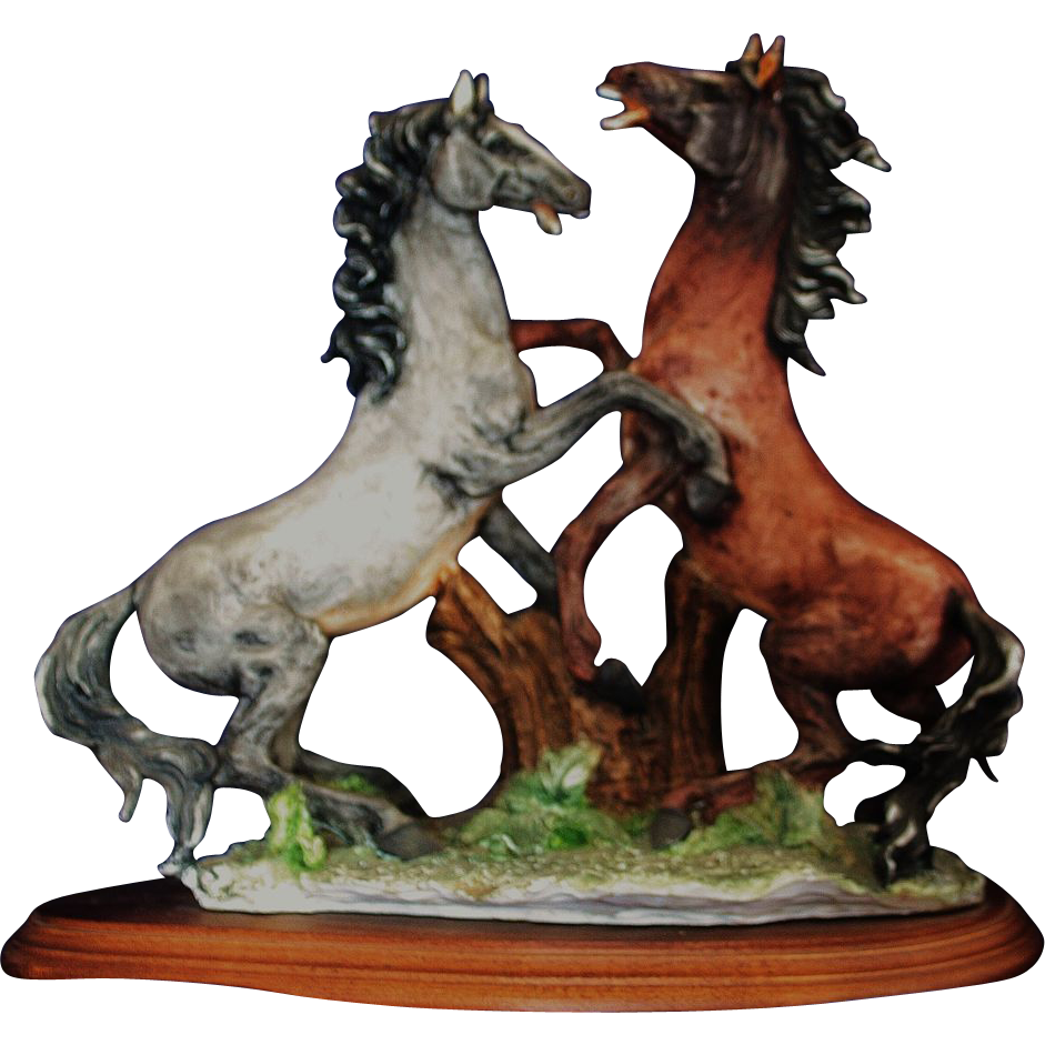 Italian Porcelain Sculpture of Two Horses In Rearing Form by Dear Artistiche of Italy