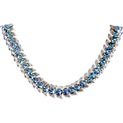 Vintage Trifari Silver Tone & Peacock Blue AB Leaf Fern Link Necklace