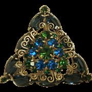 Vintage Juliana D&E Smokey Blue Metal Accents Triangle Brooch
