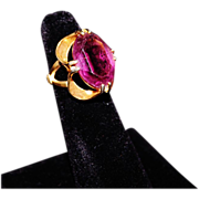 Vintage 18KT HGE Gold Electroplate  Art Deco Style Amethyst Glass Ring Size 4
