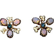 Vintage 14K Gold Plate Art Glass &  Rhinestone Floral  Screwback Earrings
