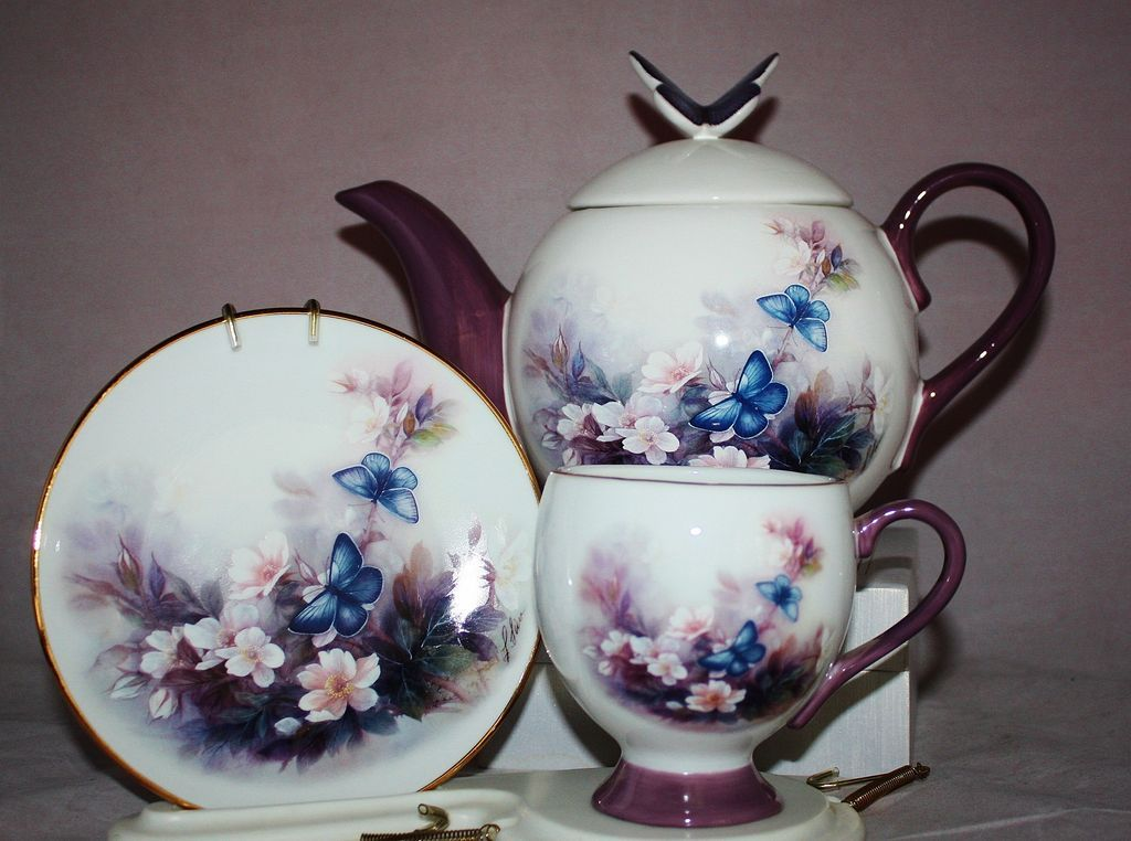 Lena Liu Blossoms & Butterfly Teapot Set with Stand