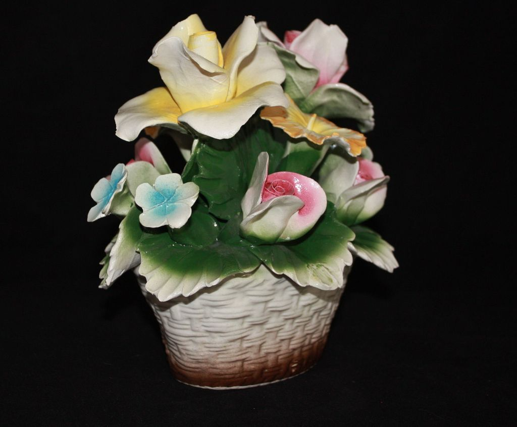 Vintage Small Nuova Capodimonte Flower Basket Crown and Horse Mark