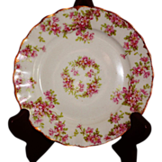 Vintage Elite Works Limoges Pink Floral Pattern Bread Dish