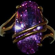 Vintage SETA Amethyst Crystal & Gold Plate Ring Size 8