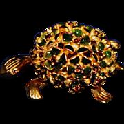 Vintage Goldtone Enamel Floral Back Turtle Pin / Brooch