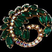 Extravagent Emerald Green Feather Brooch