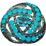 Large Faux Turquoise Faceted & Pale Blue Dimensional Silver Tone Brooch