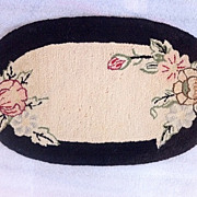 """SOLD American ca. 1920s Hand Hooked Rug-Mat Floral Mini Rug 9"""" x 15.5 ..."""