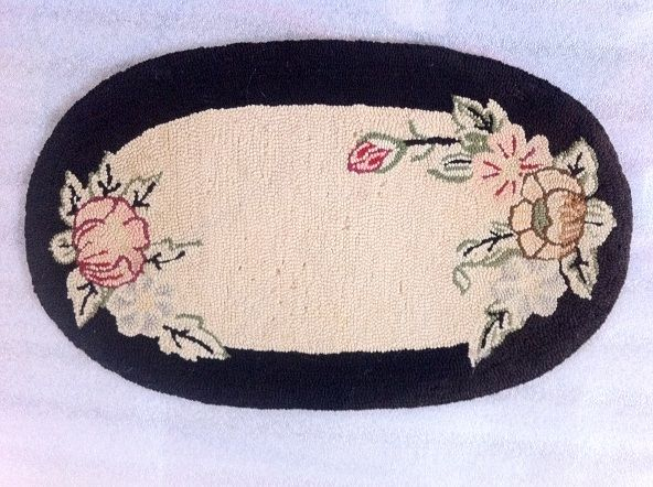 "American ca. 1920s Hand Hooked Rug-Mat Floral Mini Rug 9"" x 15.5"" $28 free shipping"
