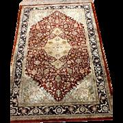 SOLD Fine TABRIZ  Silk Oriental Rug Rare 3'x5'made in Turkey