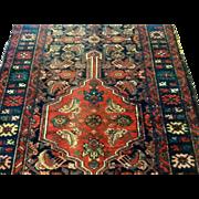 """SALE Antique N,W. Persian Runner 3'10"""" x 9'11"""" Wool, coral & blues-Free appraisa"""