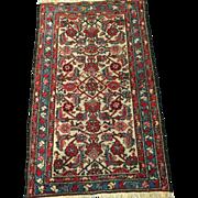 "SALE Antique HAMADAN Persian Oriental Rug Cream Field-Overall Design 2'5"" X 3'11"", F"