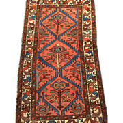 "SALE Antique Persian HAMADAN Oriental Rug  2'7"" X 4'6"" Beautiful-Coral , Robin  Blue"