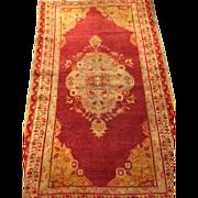 "SALE Beautiful Turkish Oushak Oriental Rug 3'4"" x 5'6"" Tomato Red, Celadon Green Med"