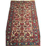 "SALE Antique Persian Hamadan Oriental Rug, 2'5"" x 4' Cream, Egg Blue & soft Red, Vege"