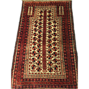 "BALOUCH PRAYER RUG, 3' x 4'10"" Wool with Wool foundation, Perfect Condition-Tapestry-Free appraisal-Free shipping"